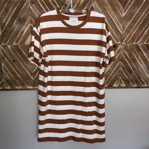 Urban Outfitters Orange White Stripe T-Shirt Dress